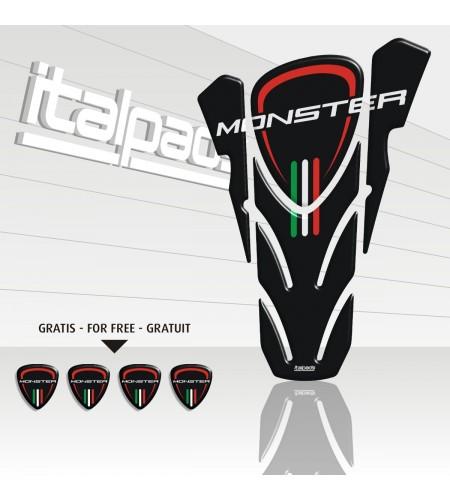"Tank Pad for DUCATI Corse monster nero ""top wings"" black TANK PAD + 4 free"