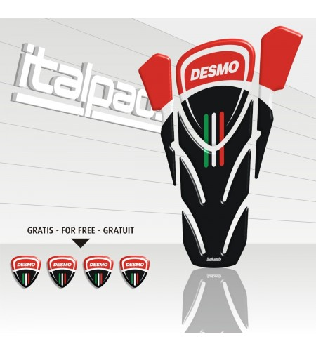 """TANK PAD """"Desmo"""" black/red for Ducati Monster"""
