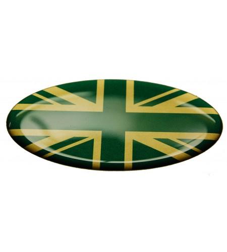 Sticker Union Jack Royal British flag Range Rover OVAL english green on gold