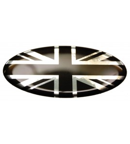 Sticker Union Jack Royal British flag Range Rover OVAL 100% black on Chrome