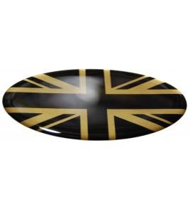 Sticker Union Jack Royal British flag Range Rover OVAL english black on gold