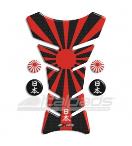 "Tank Pad protector  JAPAN flag HoneyComb black ""Classic"" + 4"