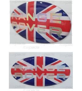 Sticker Union Jack Royal British flag  Range Rover text pearly chrome