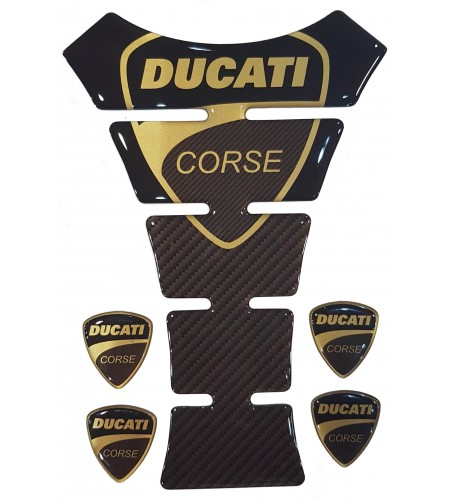 "TANK PAD Ducati Corse ""Texas"" gold/carbon +4"